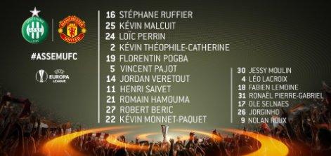 Les compositions pour le match #ASSEMUFC #LigueEuropa #EuropaLeague #ASSE #mufc<br>http://pic.twitter.com/TPg46PjXuI