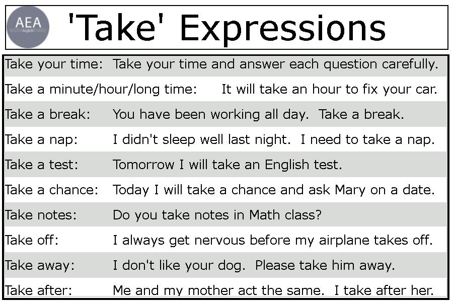 The verb &quot;take&quot; goes with everything! Take a look at this list and let me know what your take is! #esl #idioms #English #englischlernen<br>http://pic.twitter.com/9mG5509lRt