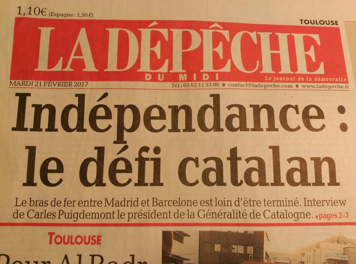 &quot;Indépendance : le défi #catalan&quot;. L&#39;interview au #président de la #Catalogne @KRLS fait la une du journal @ladepechedumidi<br>http://pic.twitter.com/ESULE7PhWl