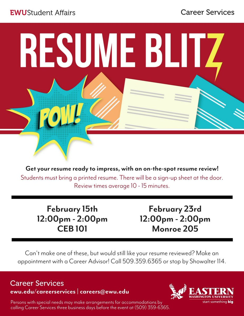 ewu career services on twitter get your resume ready to impress