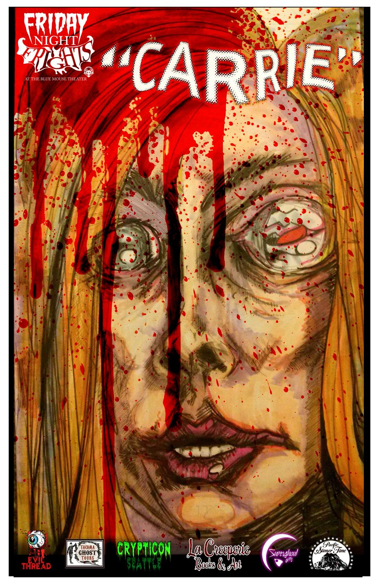 @RealNancyAllen We screened #carrie last week and artist James Pate created this piece for the event. Your mouth is in Sissy&#39;s eye! <br>http://pic.twitter.com/afUdPfNEX4
