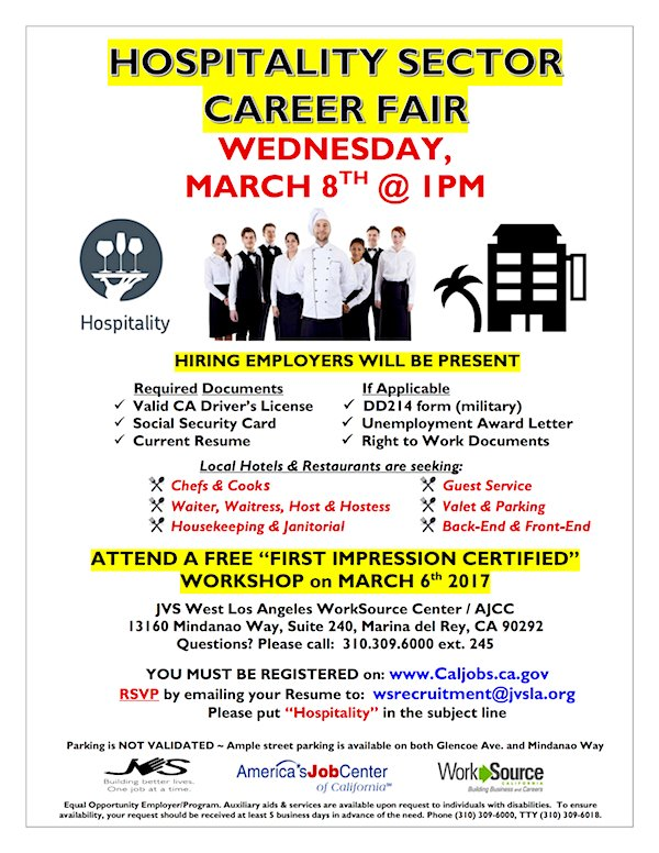 laewdd on twitter hospitality sector career fair march 8th