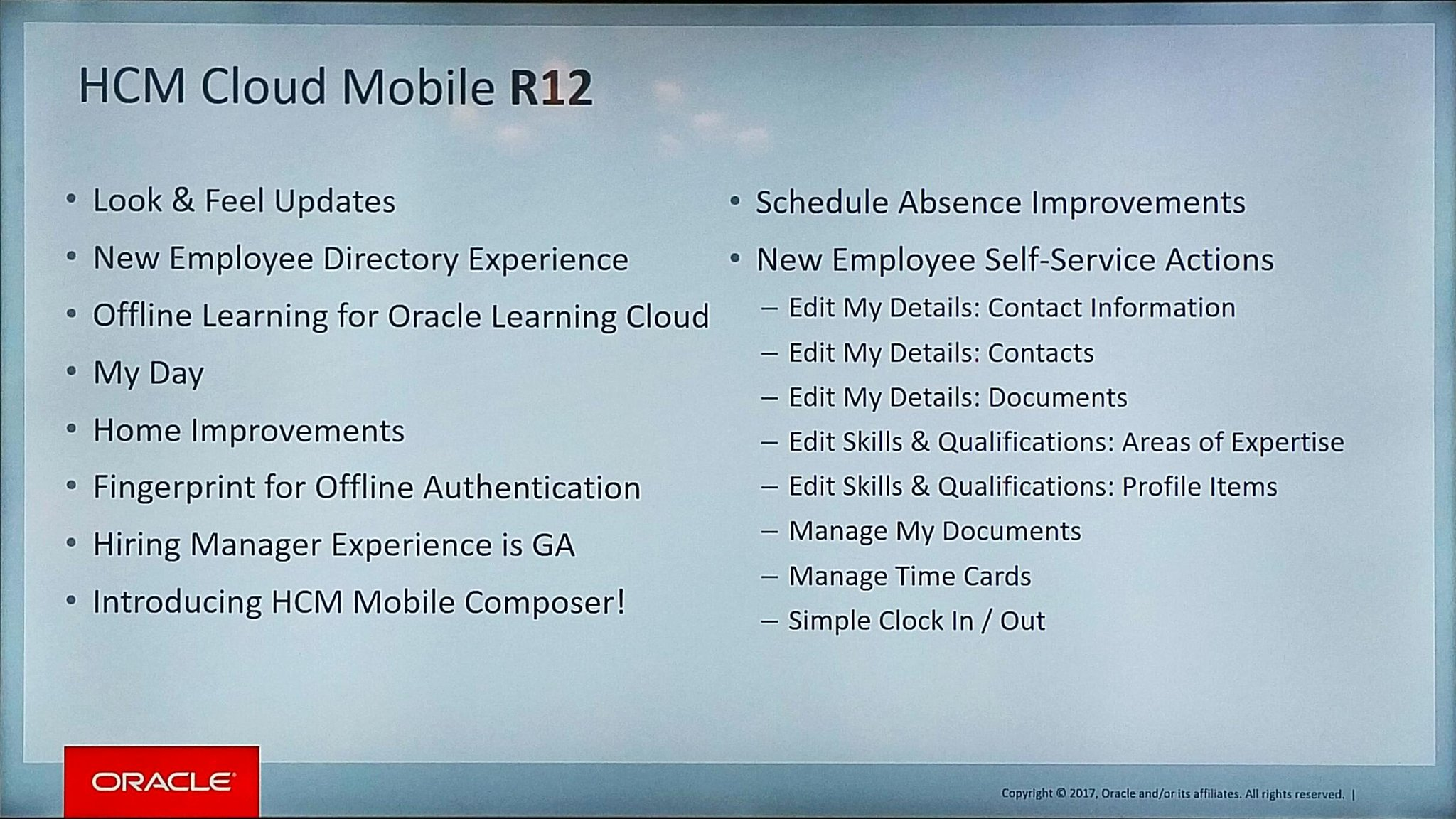 What's is coming in @OracleHCM Mobile R12 #OracleHCM https://t.co/yD9RinxMad
