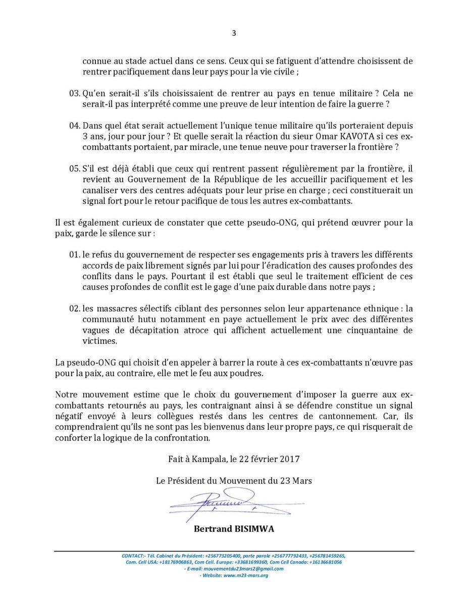 ... d ex- M23 à l Est   l ex-rébellion s explique et affirme que ses  éléments ont le droit de retourner en RDC et sont