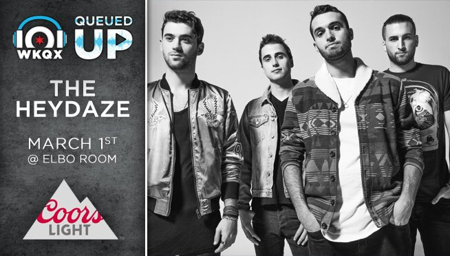 A week from today @theheydaze will be at @101WKQX in the @ElboRoomLive...