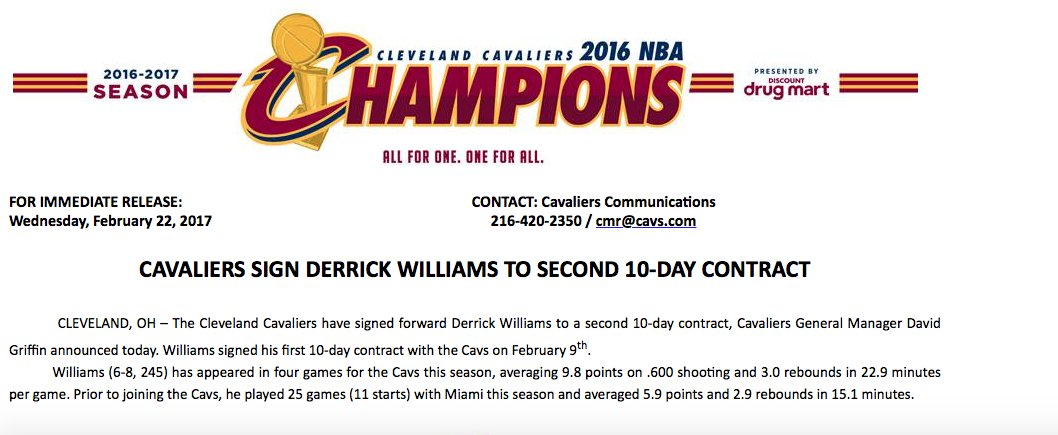 Derrick Williams signs second 10-day deal with Cavs