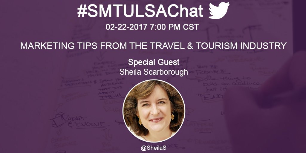 The countdown is on for tonight's #smtulsachat with @SheilaS We're talking Travel and Tourism Marketing. #Tourismchat Join us at 7 CST. https://t.co/PLKbW8iJpZ