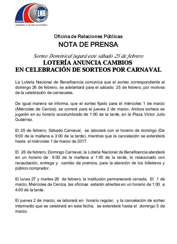 Lotería Nacional Pmá Auf Twitter Comunicamos Que El Sorteo Correspondiente Al Domingo 26 Se Adelantará Para El Sábado 25 De Febrero Por Motivos De Carnavales Https T Co Auawwgqxkc