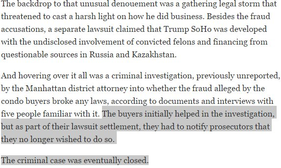 Did DJT &quot;SETTLE HIS WAY&quot; OUT OF A FELONY? #TheResistance #conflictsofinterest #CNN #msnbc  https://www. nytimes.com/2016/04/06/us/ politics/donald-trump-soho-settlement.html?_r=0 &nbsp; … <br>http://pic.twitter.com/VcPDAuFGt8