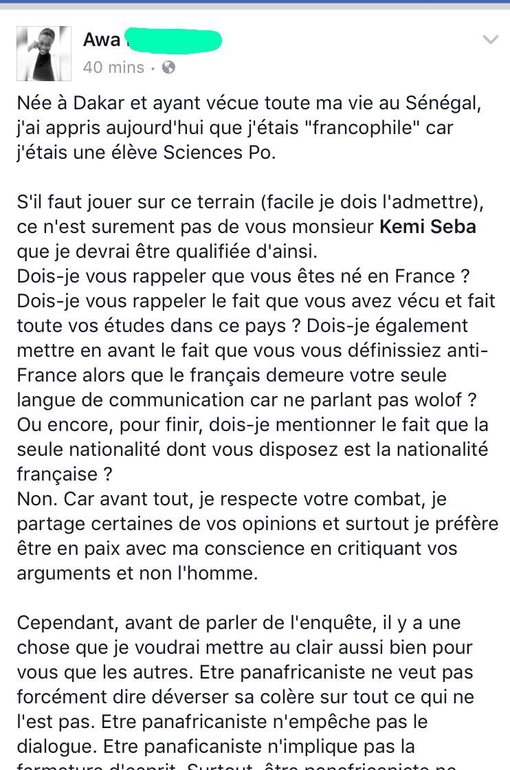 Ma réponse à @KemiSeba1 concernant mon enquête sur le franc CFA. #RT apprécié <br>http://pic.twitter.com/m5Wcm6vY8O