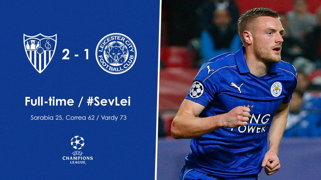 Full-time: Sevilla 2-1 Leicester City #SevLei https://t.co/ajKYvRoSJb