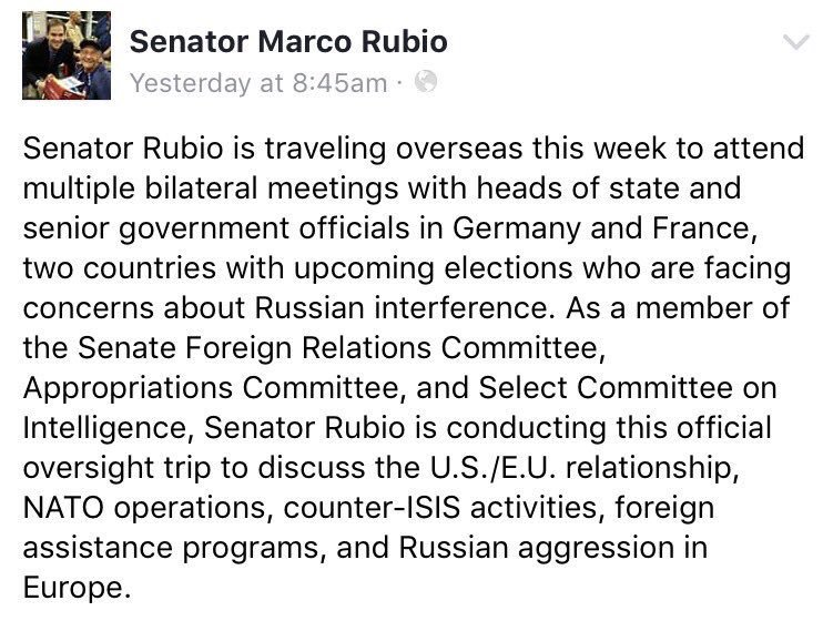 Senator @marcorubio is overseas on official Senate Biz &amp; he is taking care of his duties! He cannot attend a fake #TownHall. #Sayfie #FlaPol<br>http://pic.twitter.com/jdMFaGzUGC