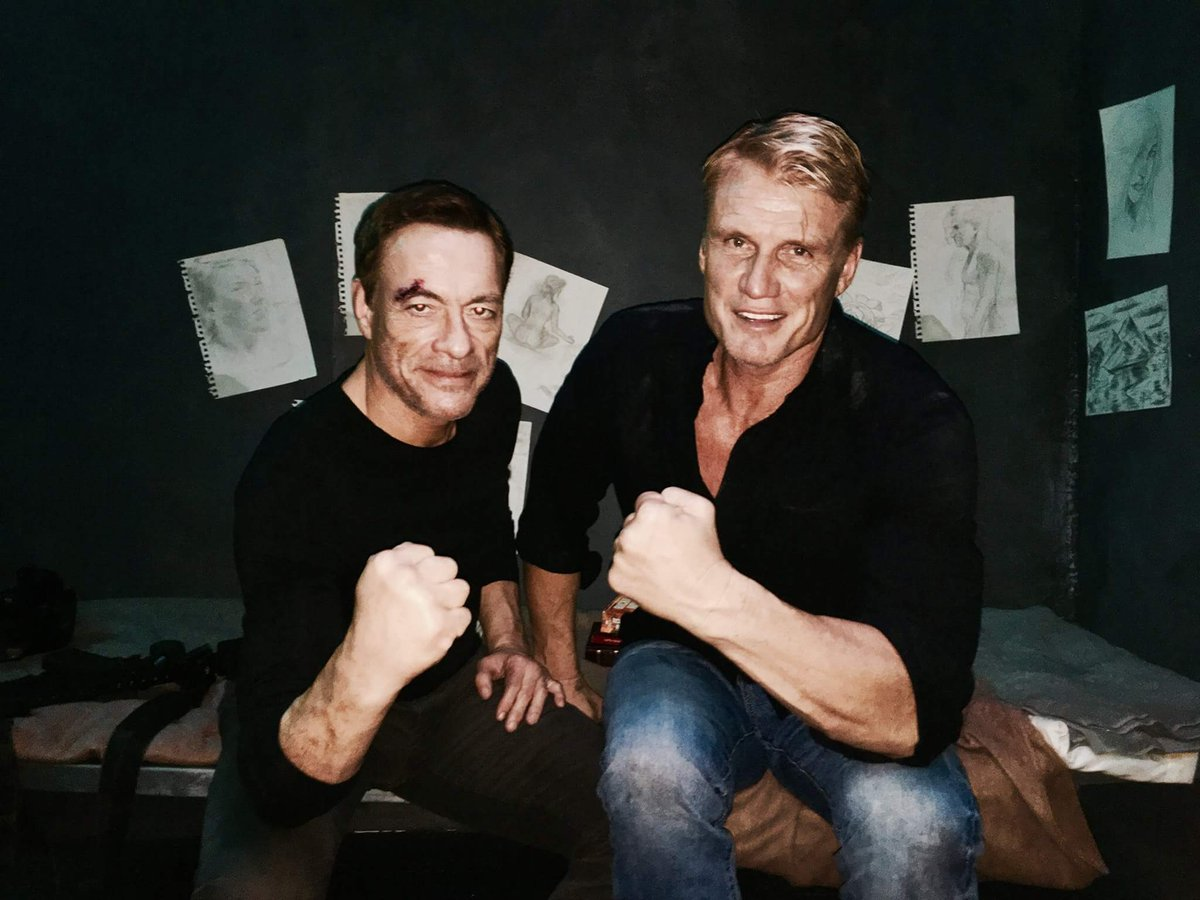 Here&#39;s a new set pic from #BlackWater (2017 film). Two action legends reunite! #JeanClaudeVanDamme &amp; #DolphLundgren.<br>http://pic.twitter.com/TLA060xnd0