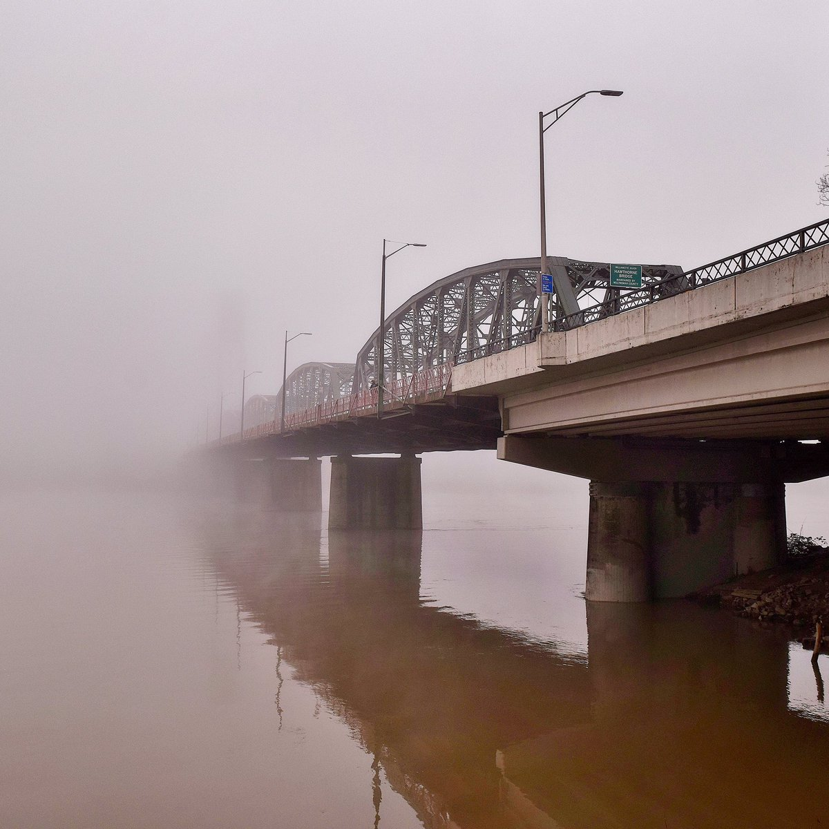 A bridge to nowhere.... a bit foggy in Portland today. #LiveOnK2 #pdxtst <br>http://pic.twitter.com/L7LD0eQ4xF