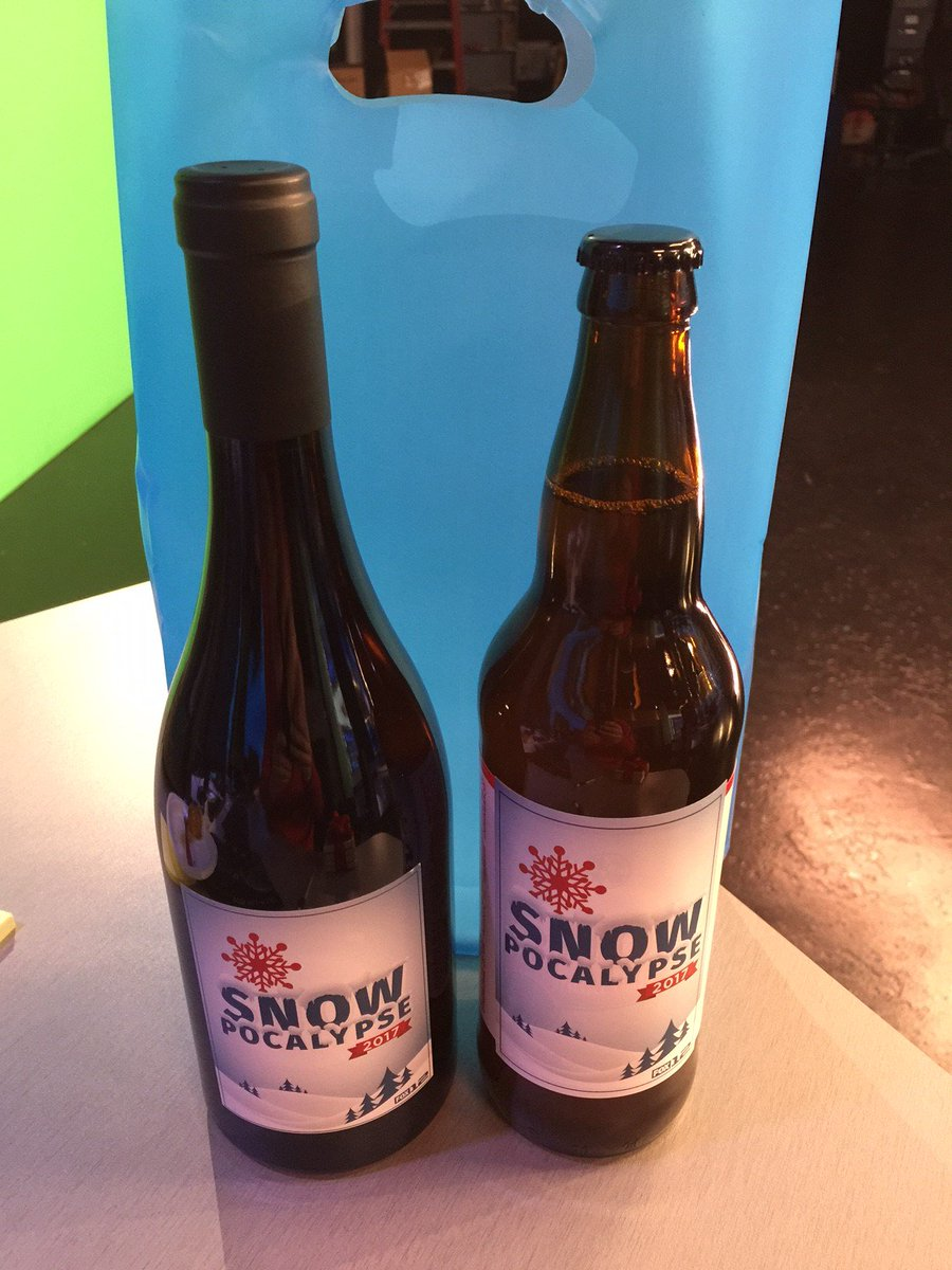 All that hard work in December &amp; January paid off with some #Snowpocalypse ale/wine.  Looks nice in @fox12oregon wx center #GoodBosses<br>http://pic.twitter.com/0QPys9MEjr