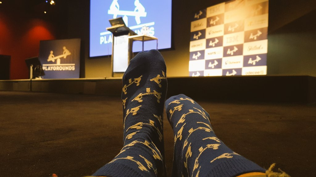 #playgroundscon socks!!! So awesome. #tech companies do the best SWAG @playgroundscon #SWAG #devconf #socks #giveaway<br>http://pic.twitter.com/eXSTcyM1Jx