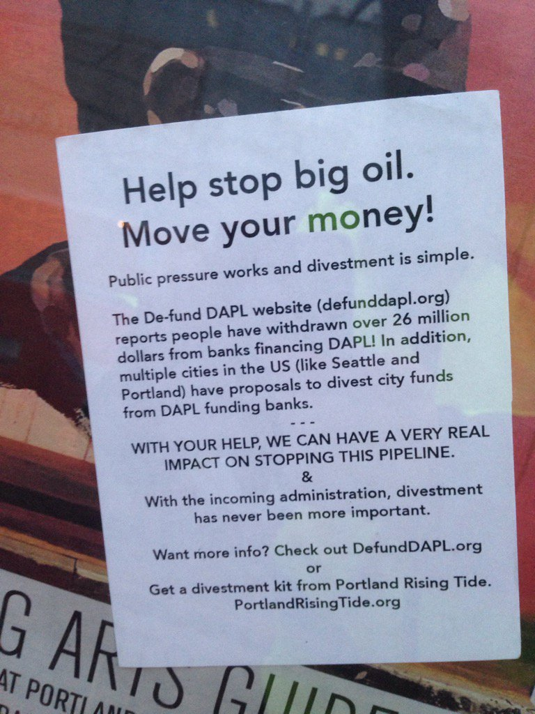 That&#39;s what I&#39;m talking about #DivestDAPL #NoDAPL #StandingRock #Solidarity #oil#banks #pdx <br>http://pic.twitter.com/czQckxbwgz