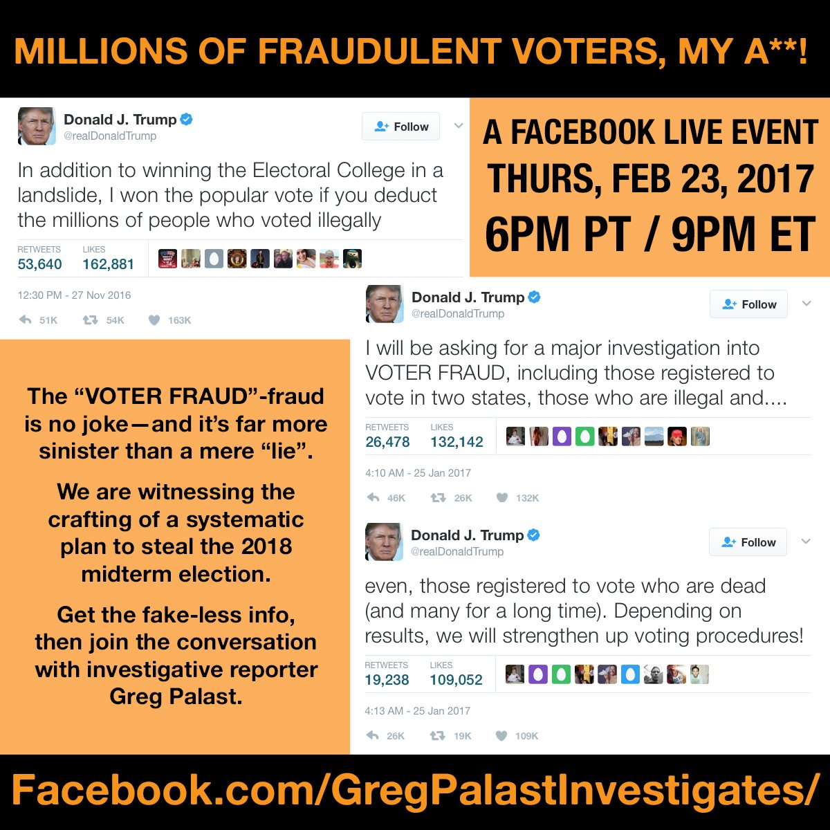 Tune in to our Facebook LIVE event tomorrow at 6PM PT / 9PM ET.   https://www. facebook.com/GregPalastInve stigates/ &nbsp; …   #Trump #ElectionFraud #Crosscheck #TrumpStoleIt<br>http://pic.twitter.com/RKOF0QBR8x