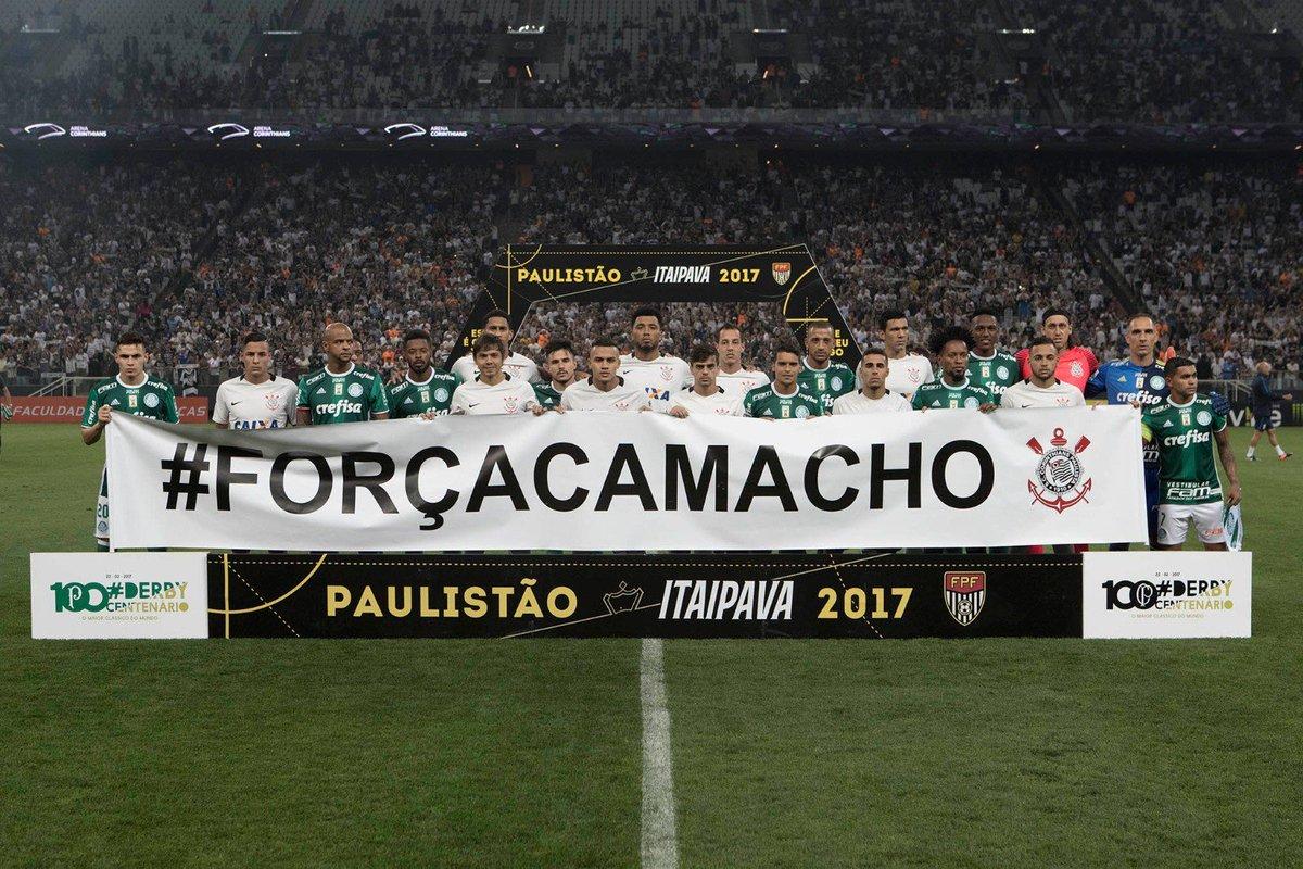 Pra encerrar a noite, homenagem e recado mais do que justo: #ForçaCamacho  📷 Daniel Augusto Jr./Agência Corinthians   #DerbyDaRaça