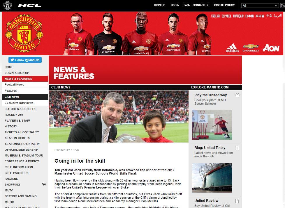 Jack Brown masuk dalam berita di laman Manchester United