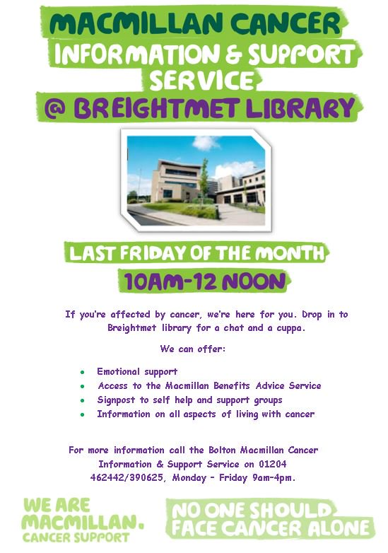We&#39;re at Breightmet Library tomorrow providing information &amp; support. If you&#39;re affected by cancer, drop in for a chat &amp; a cuppa. #NotAlone <br>http://pic.twitter.com/JGjtClt7MV