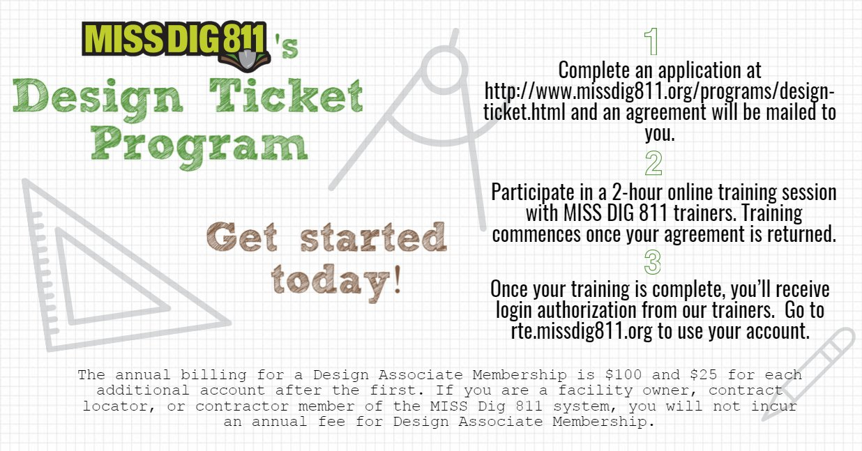 Miss Dig 811 On Twitter Are You In The Planning Stages Of A Project Check Out The Miss Dig 811 Design Ticket Program Https T Co D0ymvdayta Eweek2017 Https T Co P2jeasweiz We love electronic positive response and checking ticket status before digging! twitter