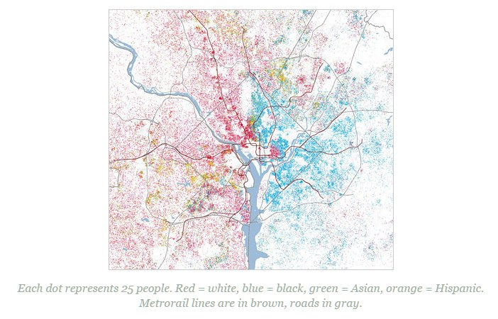 Mapping DC racial divide Red dot - 25 white people Blue dot - 25 black...