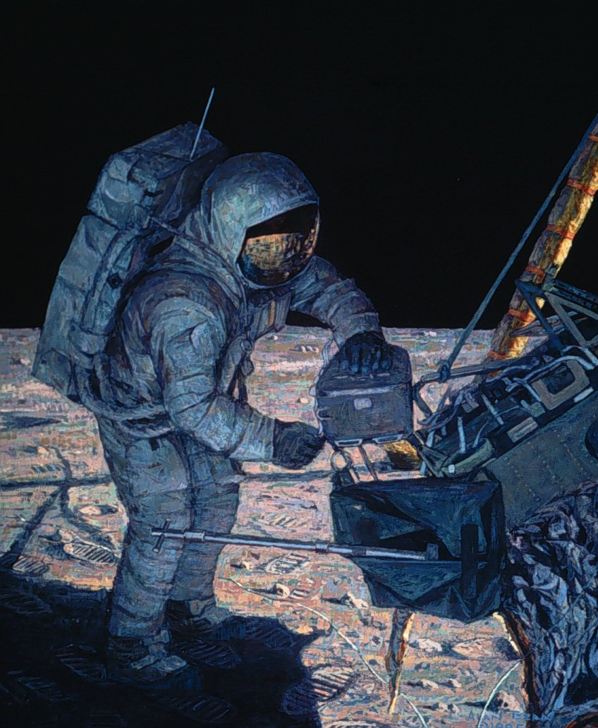 Apollo 11 #space pioneer Neil Armstrong loads rocks into the lunar module, as painted by Apollo 12 moonwalker Alan Bean in 1985.