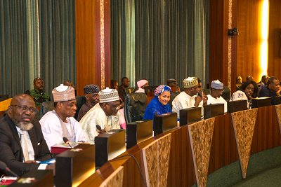 Valedictory Session for Out-going Minister of Environment Chaired by Ag Yemi Osinbajo during FEC at the Council Chamber, State House, Abuja, Feb 22