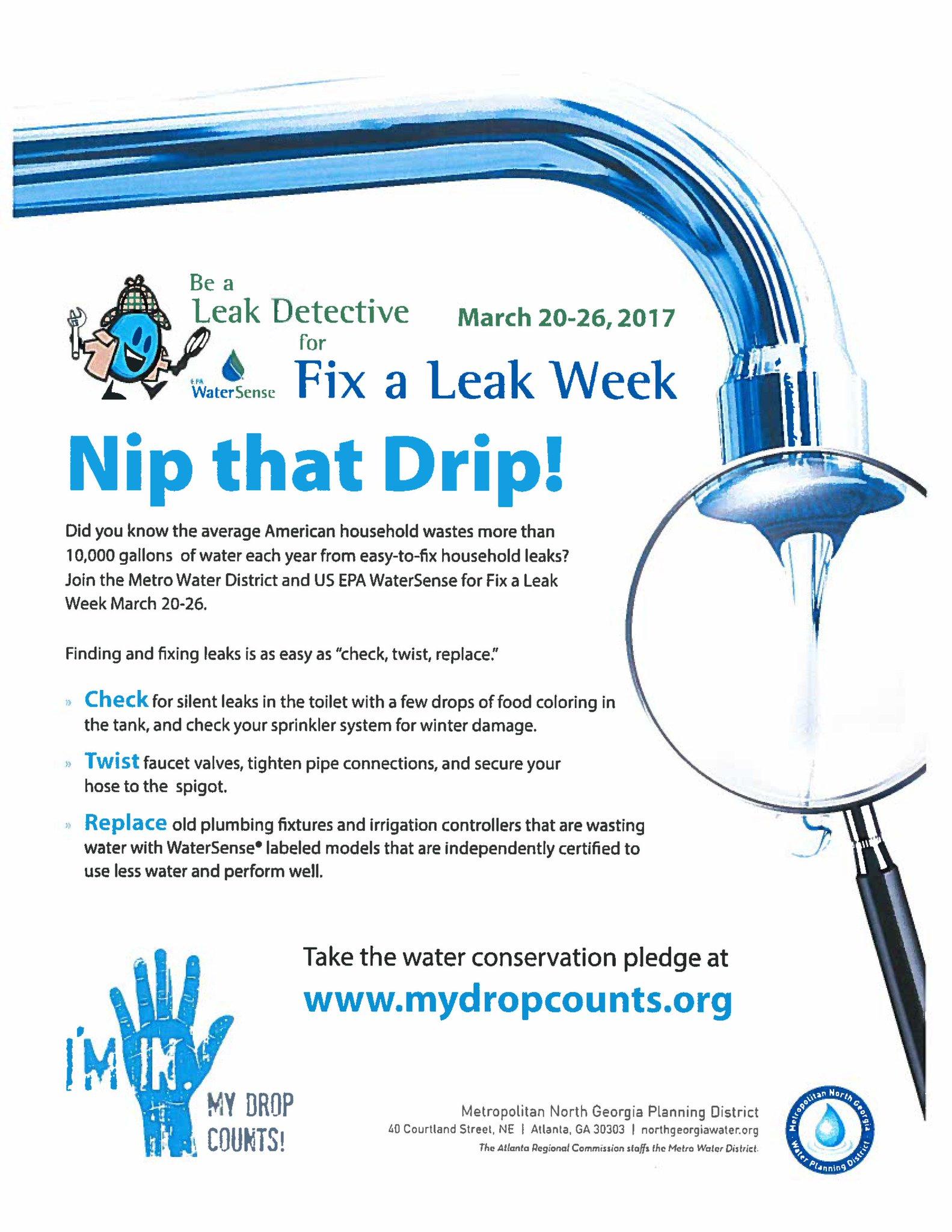 Atlanta Watershed On Twitter Be A Leak Detective And Nip That Drip Fixaleak