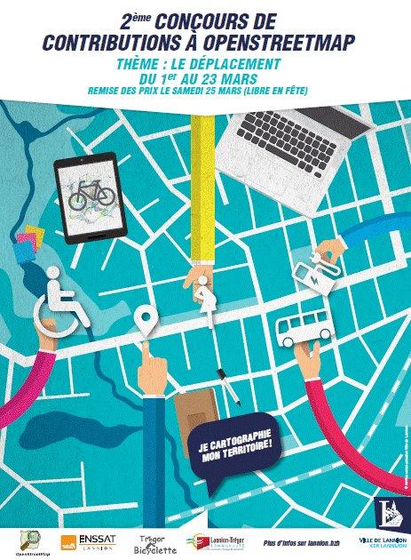 Concours cartographie collaborative du 1er au 23 mars @ville_lannion @enssat @TreBicy @AggloLTC @openstreetmap. Saison2: les déplacements https://t.co/uLzfuQrybR