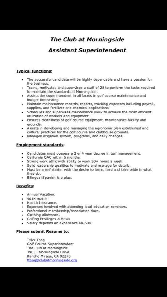 send resume golf course superintendent