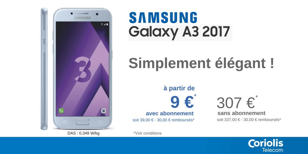 #Samsung #GalaxyA3 2017. Un design épuré pour une prise en main optimale. L'élégance dans sa forme la plus pure ! =&gt;  http:// bit.ly/2mlNiLr  &nbsp;  <br>http://pic.twitter.com/vL1Azur8fv