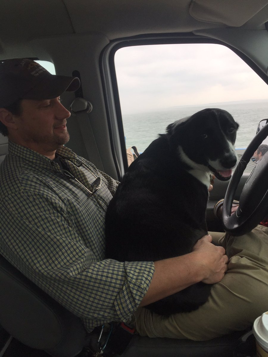 Lab Manager Matt Thomas's commute this morning via @MILLERBOATLINE. Newton (@pawsongib)was
