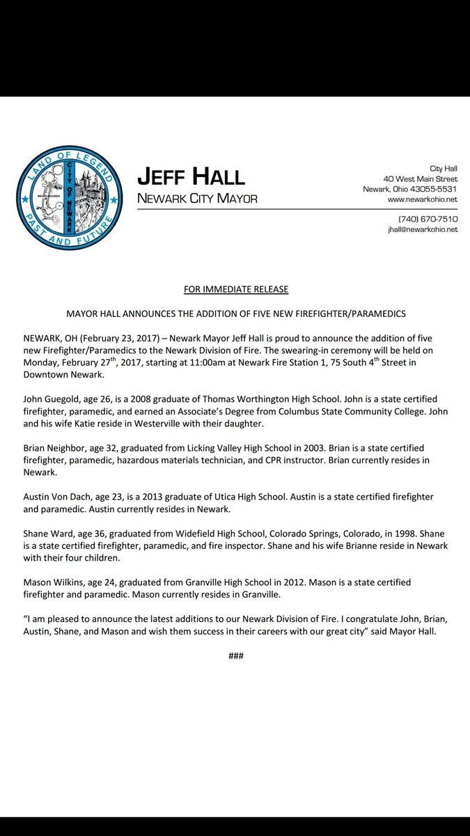 Newark Fire Dept On Twitter Newark Fire To Swear In 5 New