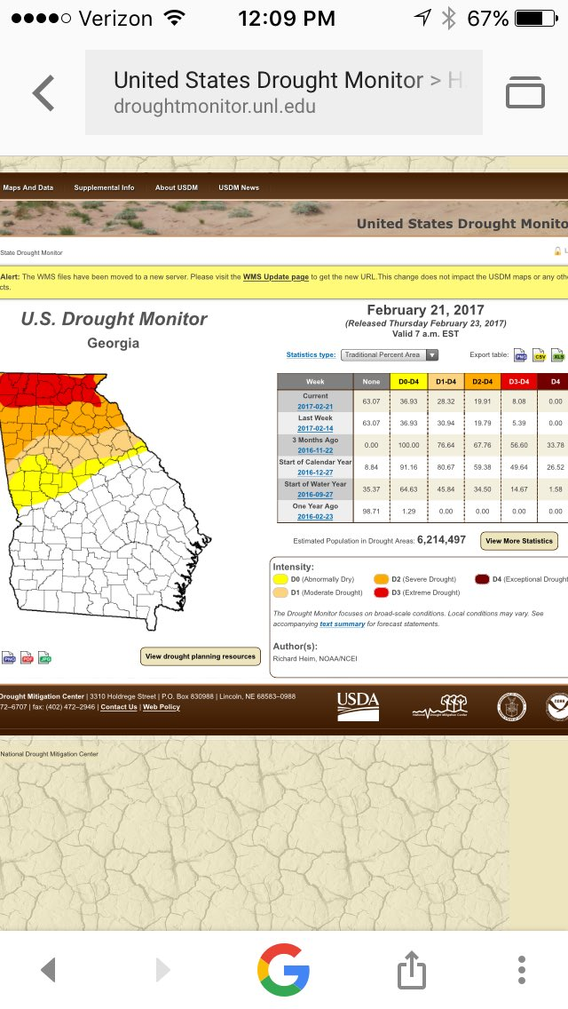 Extreme drought still expanding in north GA. Moderate/severe drought still holding on in metro area. #11Alive