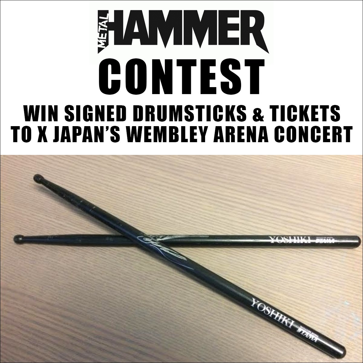 #XJapan contest from @MetalHammer! Win drumsticks signed by @YoshikiOfficial and tickets for #Wembley Arena concert!  http:// bit.ly/2mpk1zv  &nbsp;  <br>http://pic.twitter.com/J4mNplGXFR