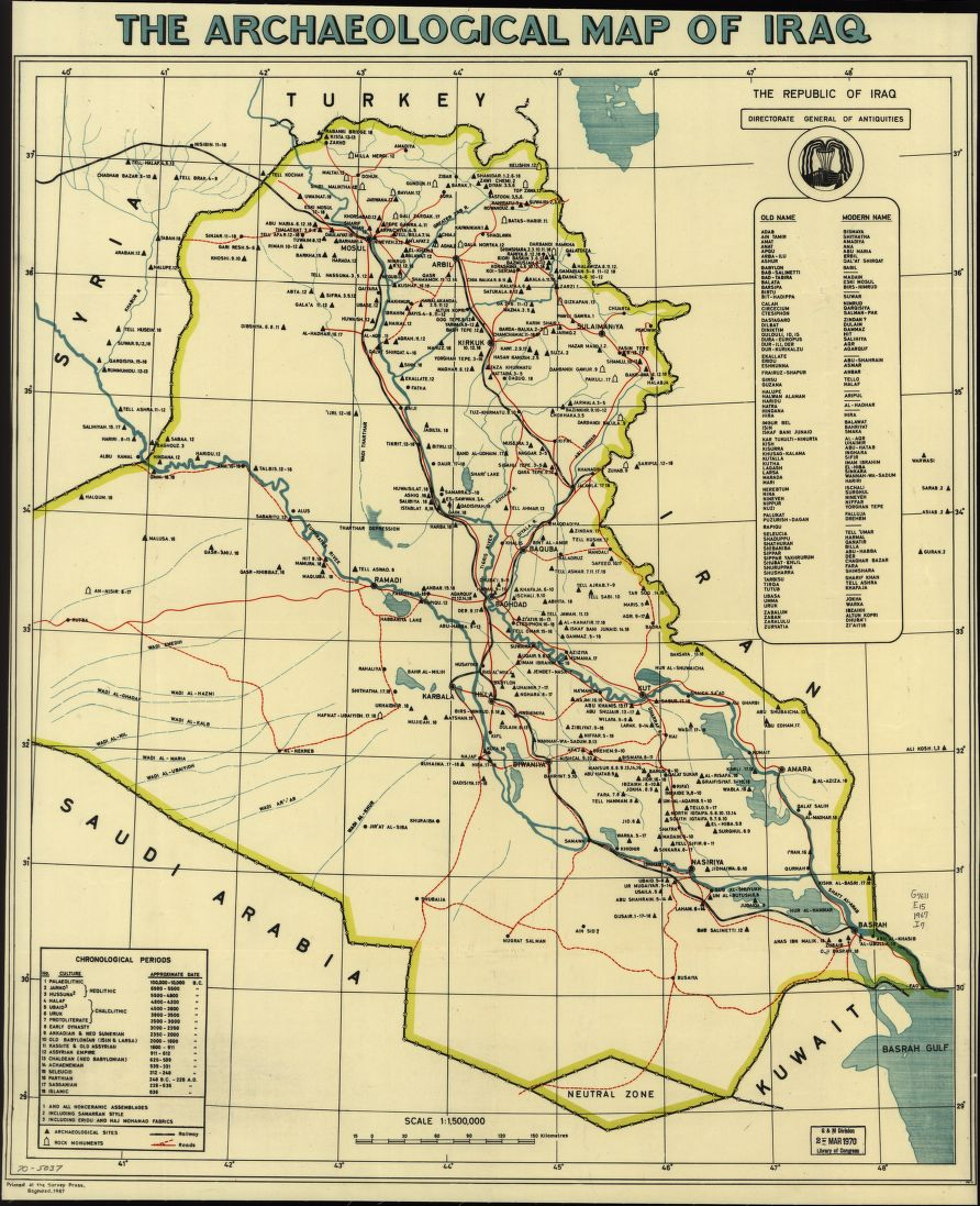 "This #archaeological #map of #Iraq includes a list of old & modern names & table of ""Chronological periods""  https://t.co/Edw9hG2OoC https://t.co/JNfwtSnnrr"