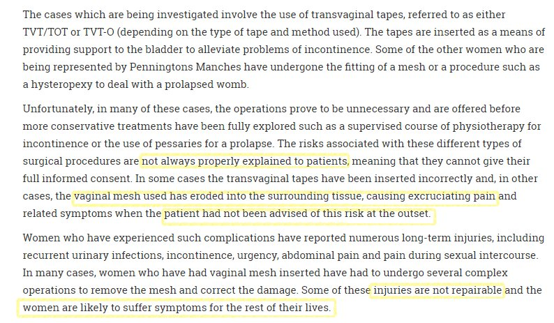 #VIIPS17 This is our biggest complaint - women were NOT WARNED of the dangers of #mesh #tvt #midurethral #slings   http://www. lexology.com/library/detail .aspx?g=db434dc8-8bff-4cff-b010-0673fad2efbd &nbsp; … <br>http://pic.twitter.com/wsFnqTSIwF