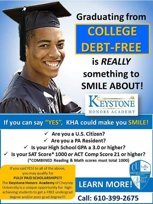 Keystone Honors Academy @CheyneyUniv graduates students at 2x the national average rate for African Americans #InvestInCU #fundPAfuture https://t.co/vMIsVAbho8