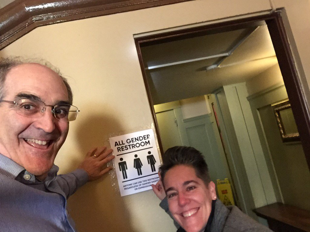 Michele and I were honored to install the All Gender Restroom signs at #LWTSUMMIT #protecttranskids https://t.co/tWN5HZZ2fw