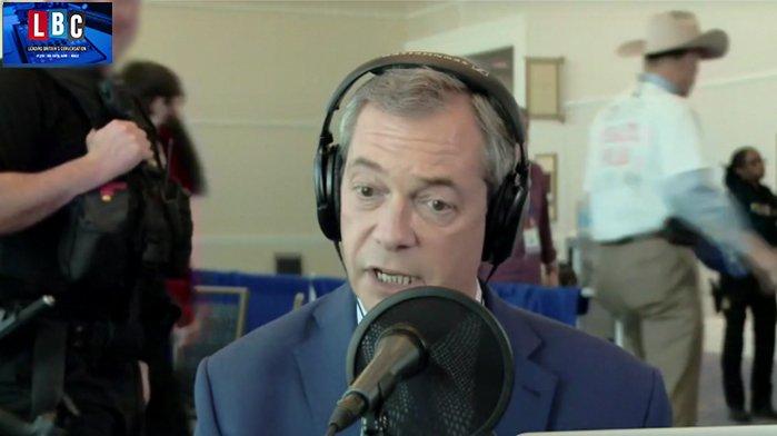 The moment Secret Service remove @Nigel_Farage live on air in Washington DC #FarageOnLBC