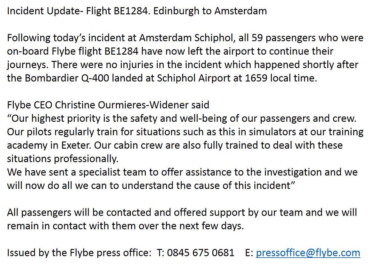 Flybe incident update: https://t.co/Jyd9EI2p3M