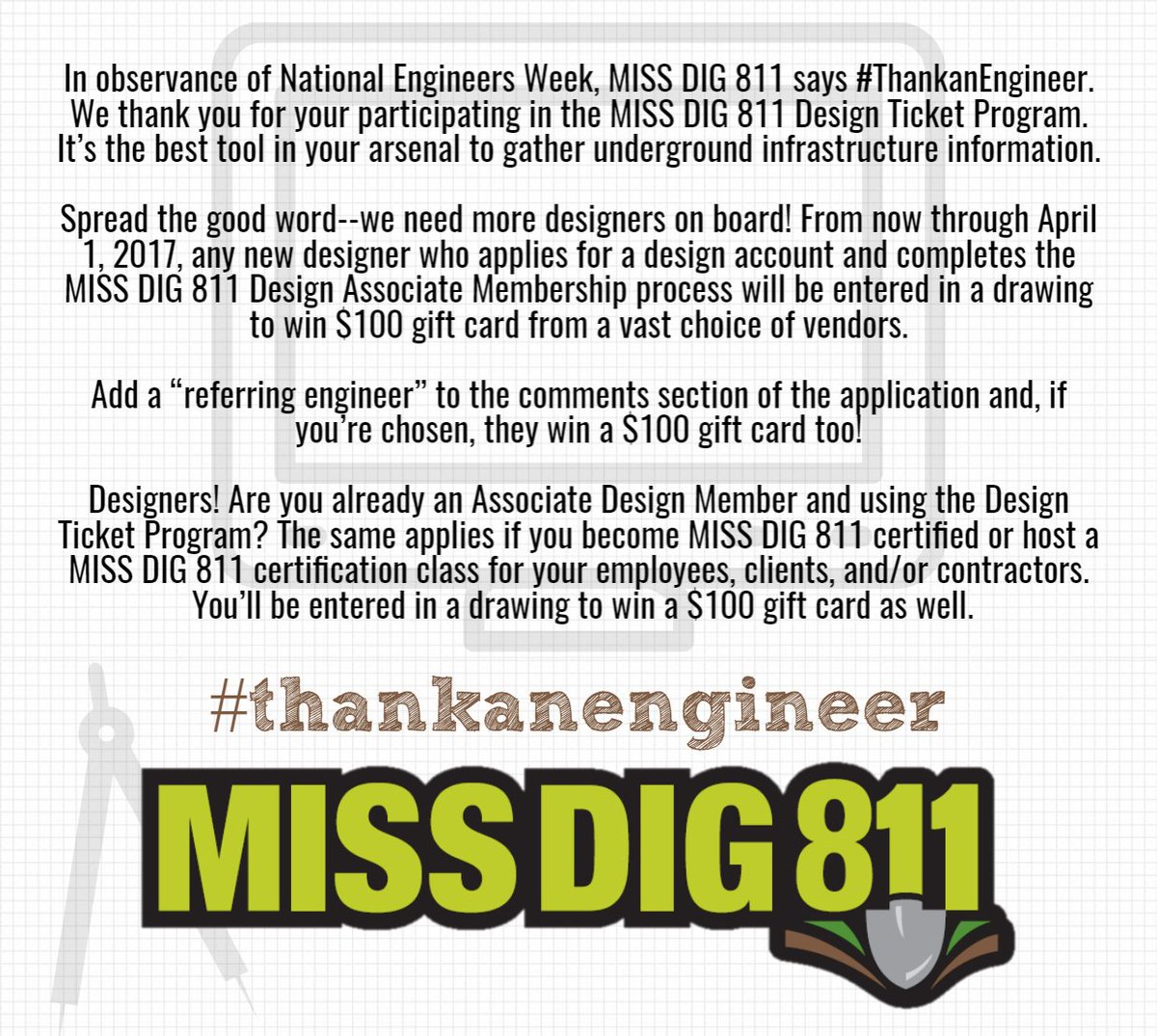 Miss Dig 811 On Twitter Https T Co D0ymvdayta Thankanengineer Eweek2017 Anyone planning to dig within chicago must obtain a dig ticket from 811 chicago. twitter