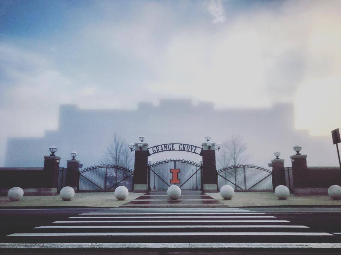 Cool view of fog-covered Grange Grove this morning courtesy @Illinois_Alma student. #Illini https://t.co/8XwvfYvnrN https://t.co/Svkggd5zly