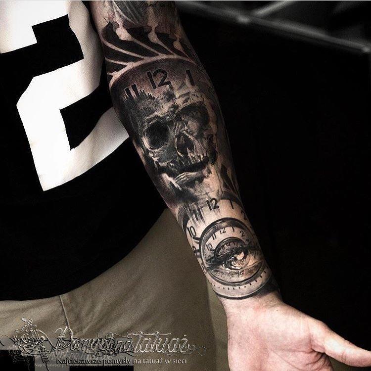 Pomysł Na Tatuaż On Twitter Zegar Czaszka Oko Httpstco