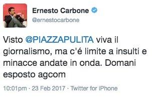 Il tweet di @ernestocarbone sul servizio sui #tassisti. #Piazzapulita...