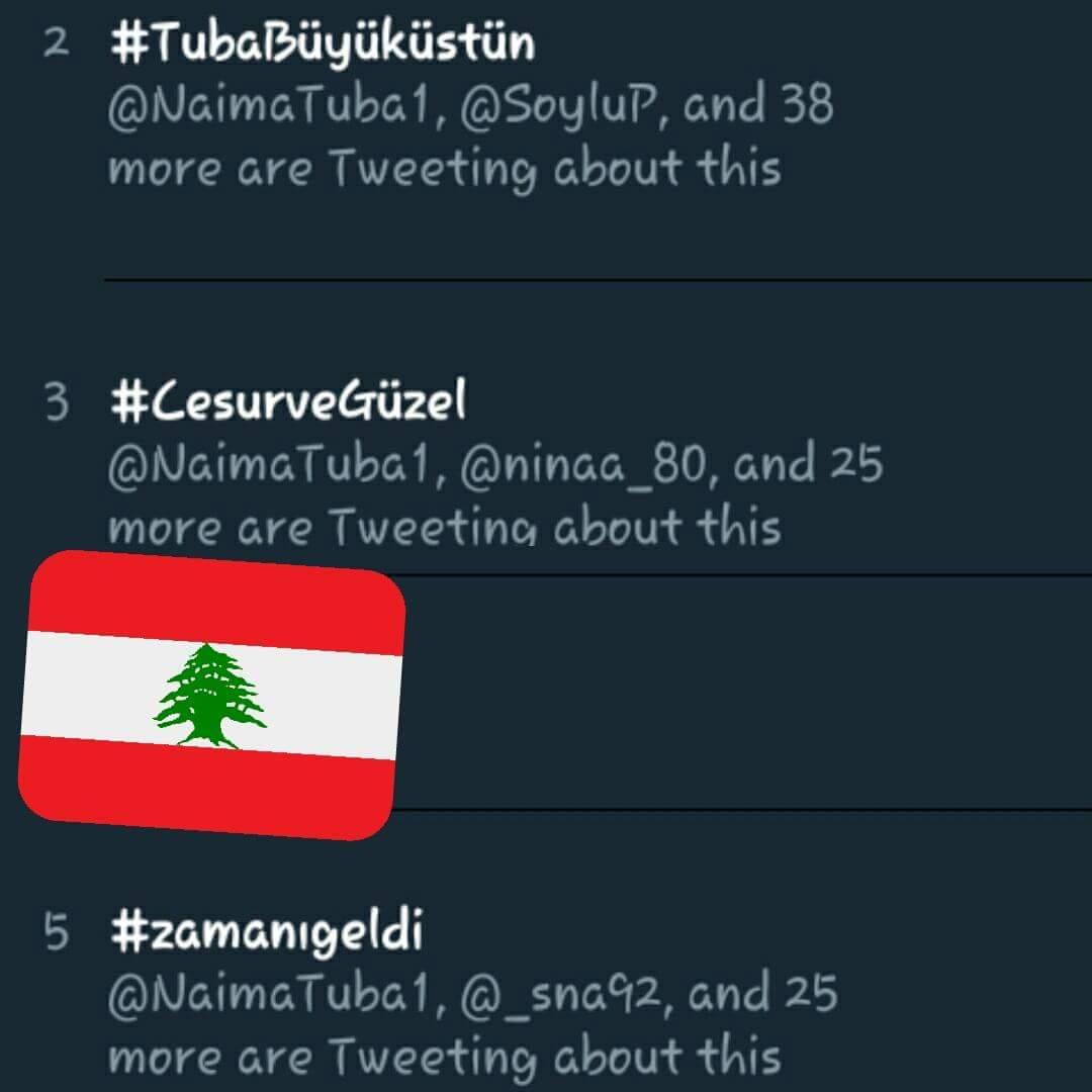#tubabüyüküstün #cesurvegüzel and #zamanıgeldi trending in Iraq and Lebanon <br>http://pic.twitter.com/eb8czhxIGa
