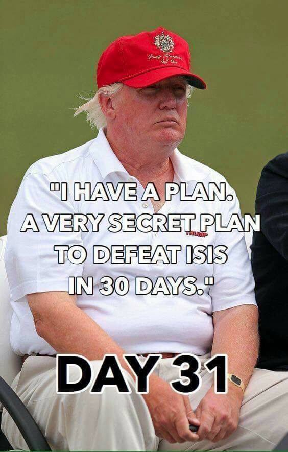 The plan is going #BIGLY, guys. Smoothly, and beautifully, and #YUGE. The most wonderful 30 day #plan you&#39;ve ever seen. Believe me. Oh wait.<br>http://pic.twitter.com/M0SUUh2P3E
