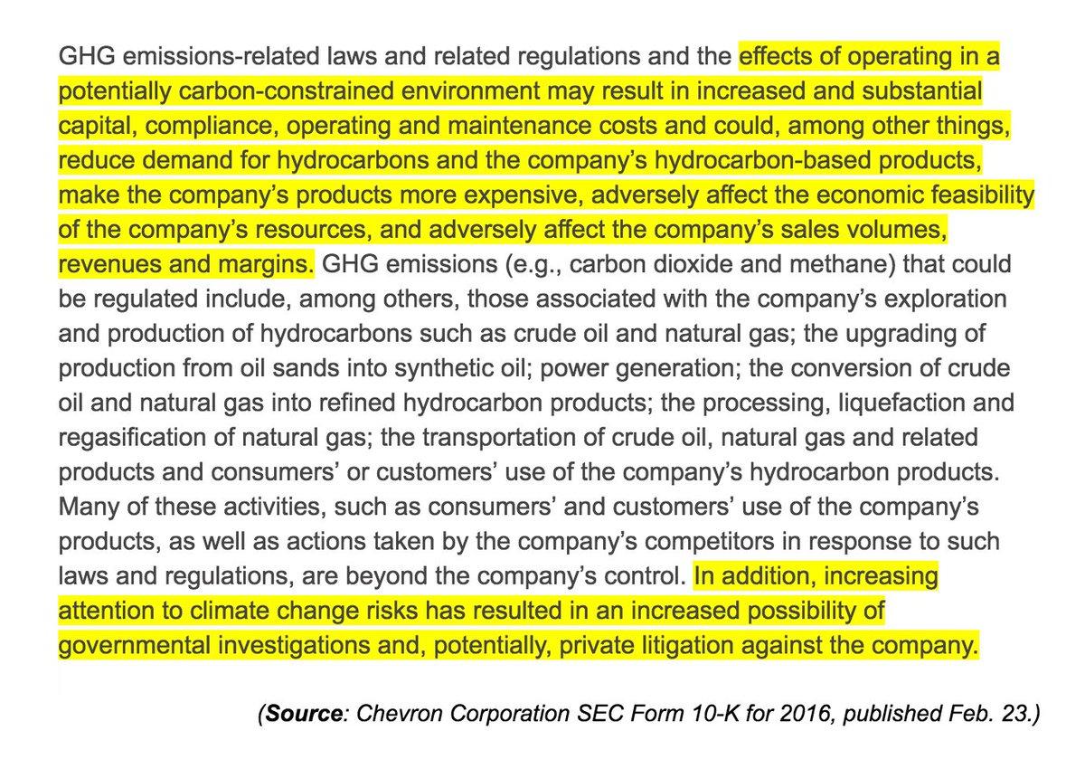 Chevron warning shareholders it faces risks of climate change lawsuits and investigations. h/t #ExxonKnew campaign.  http:// investor.chevron.com/phoenix.zhtml? c=130102&amp;p=irol-SECText&amp;TEXT=aHR0cDovL2FwaS50ZW5rd2l6YXJkLmNvbS9maWxpbmcueG1sP2lwYWdlPTExNDE2ODY2JkRTRVE9MCZTRVE9MCZTUURFU0M9U0VDVElPTl9FTlRJUkUmc3Vic2lkPTU3 &nbsp; … <br>http://pic.twitter.com/Hp41wy8HUl